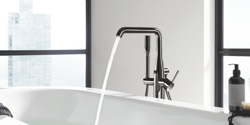 Grohe Essence bathtub faucet floor standing hard graphit